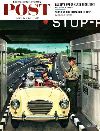 Stevan Dohanos Saturday Evening Post Stop and Pay Toll 1956_04_07   The Saturday Evening Post Graphic Art Covers 1931-1969