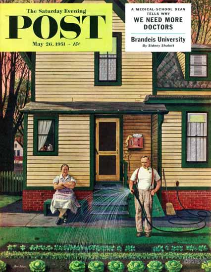 Stevan Dohanos Saturday Evening Post Tending the Garden 1951_05_26 | The Saturday Evening Post Graphic Art Covers 1931-1969
