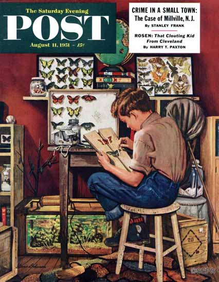 Stevan Dohanos Saturday Evening Post The Collector 1951_08_11 | The Saturday Evening Post Graphic Art Covers 1931-1969