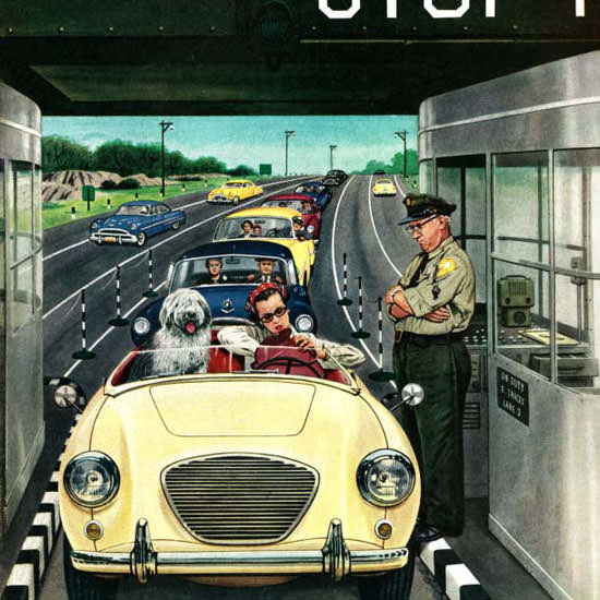 Stevan Dohanos Saturday Evening Post Toll 1956_04_07 Copyright crop | Best of Vintage Cover Art 1900-1970