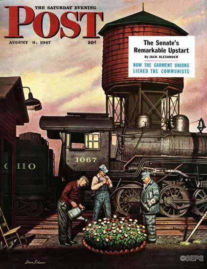 Stevan Dohanos Saturday Evening Post Train Yard Flowers 1947_08_09 | The Saturday Evening Post Graphic Art Covers 1931-1969