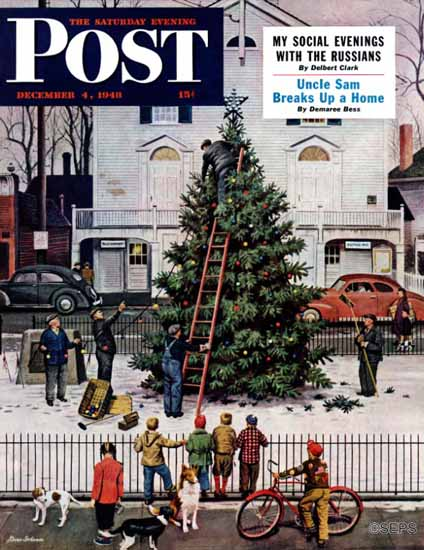 Stevan Dohanos Saturday Evening Post Tree in Town Square 1948_12_04 | The Saturday Evening Post Graphic Art Covers 1931-1969