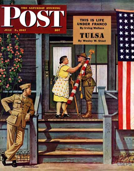 Stevan Dohanos Saturday Evening Post Two Vet Generations 1947_07_05 | The Saturday Evening Post Graphic Art Covers 1931-1969
