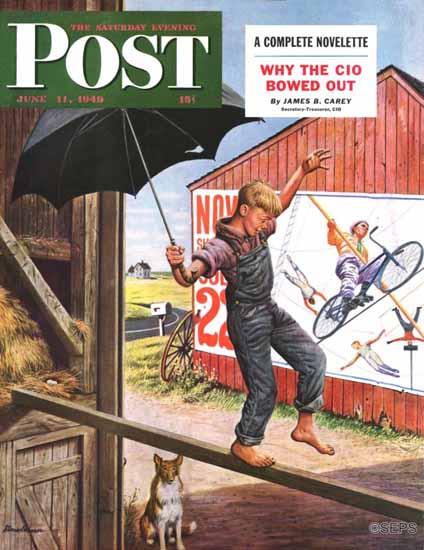 Stevan Dohanos Saturday Evening Post Walking the Tightrope 1949_06_11 | The Saturday Evening Post Graphic Art Covers 1931-1969