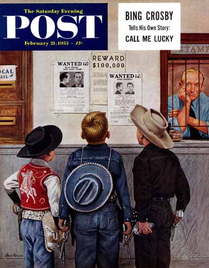 Stevan Dohanos Saturday Evening Post Wanted Posters 1953_02_21 | The Saturday Evening Post Graphic Art Covers 1931-1969