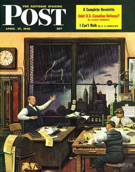 Stevan Dohanos Saturday Evening Post Weatherman Right 1946_04_27 | The Saturday Evening Post Graphic Art Covers 1931-1969