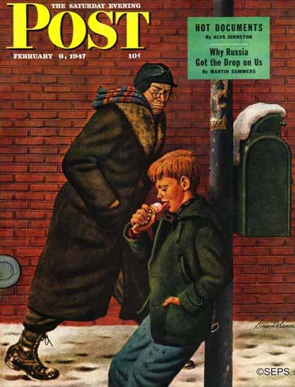 Stevan Dohanos Saturday Evening Post Winter Ice Cream 1947_02_08   The Saturday Evening Post Graphic Art Covers 1931-1969