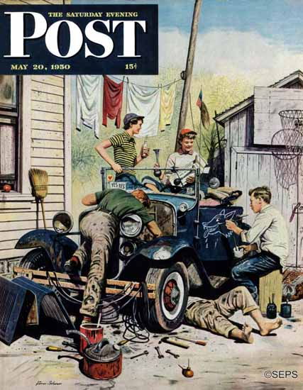 Stevan Dohanos Saturday Evening Post Working on the Jalopy 1950_05_20 | The Saturday Evening Post Graphic Art Covers 1931-1969