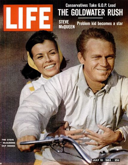 Steve McQueen Neile Adams Riding 12 Jul 1963 Copyright Life Magazine | Life Magazine Color Photo Covers 1937-1970
