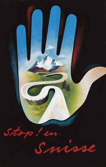 Stop en Suisse Swiss Mountains Switzerland 1937 | Vintage Travel Posters 1891-1970