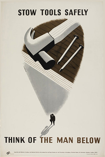 Stow Tools Safely Think Of The Man Below   Vintage Ad and Cover Art 1891-1970