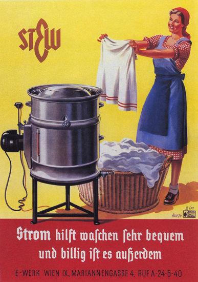 Strom Hilft Waschen Sehr Bequem Und Billig | Sex Appeal Vintage Ads and Covers 1891-1970