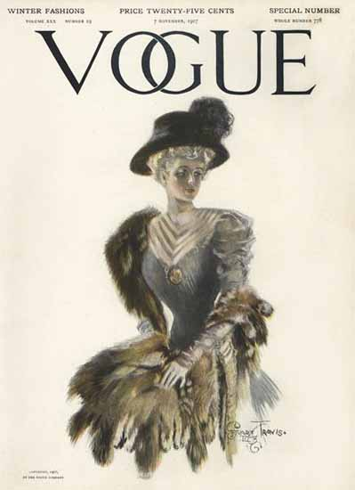 Stuart Travis Vogue Cover 1907-11-07 Copyright | Vogue Magazine Graphic Art Covers 1902-1958