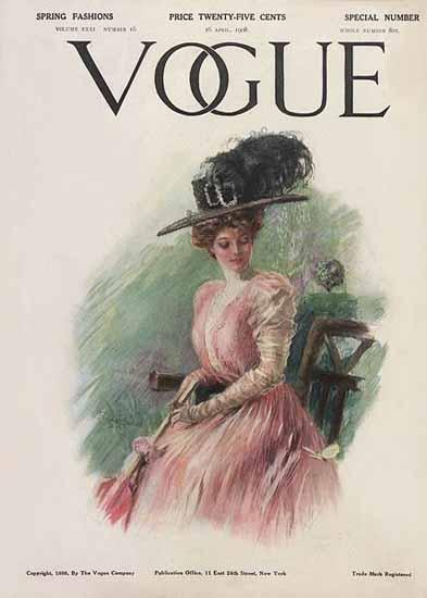 Stuart Travis Vogue Cover 1908-04-16 Copyright | Vogue Magazine Graphic Art Covers 1902-1958