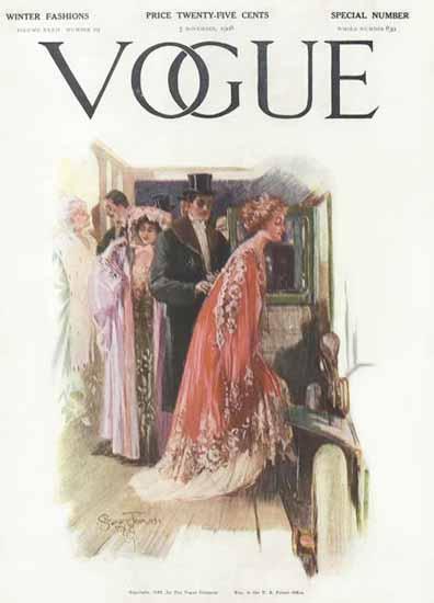 Stuart Travis Vogue Cover 1908-11-05 Copyright   Vogue Magazine Graphic Art Covers 1902-1958