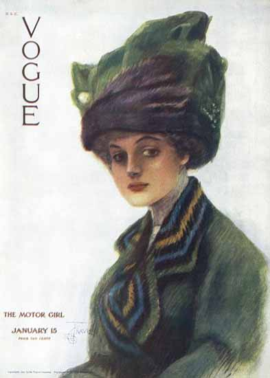 Stuart Travis Vogue Cover 1910-01-15 Copyright | Vogue Magazine Graphic Art Covers 1902-1958