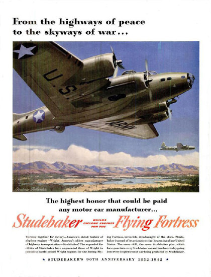 Studebaker 1942 Flying Fortress Highest Honor | Vintage War Propaganda Posters 1891-1970