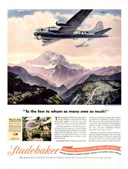 Studebaker 1943 Aircraft We Owe So Much | Vintage War Propaganda Posters 1891-1970