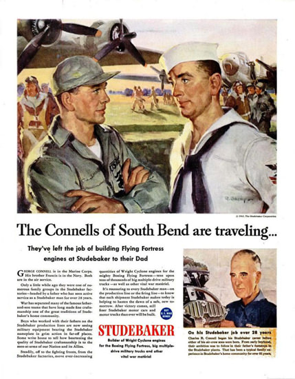 Studebaker 1943 Flying Fortress The Connells | Vintage War Propaganda Posters 1891-1970