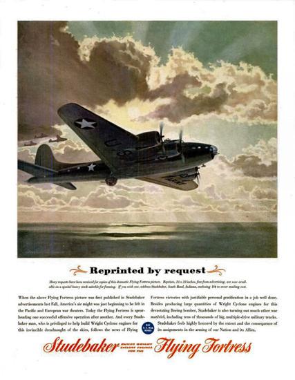 Studebaker 1945 Flying Fortress Reprinted | Vintage War Propaganda Posters 1891-1970