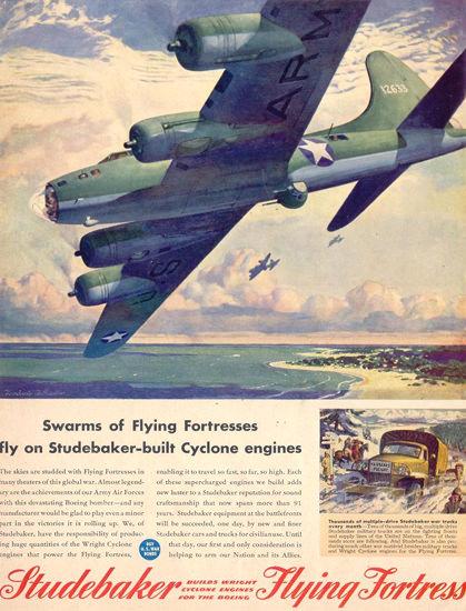 Studebaker Cyclone Engines Flying Fortress 1943 | Vintage War Propaganda Posters 1891-1970