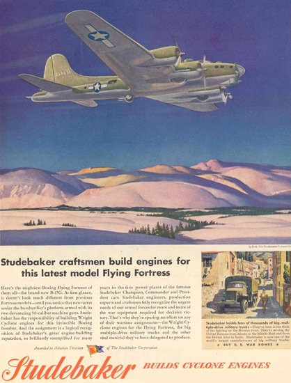 Studebaker Cyclone Engines Flying Fortress 1944 | Vintage War Propaganda Posters 1891-1970