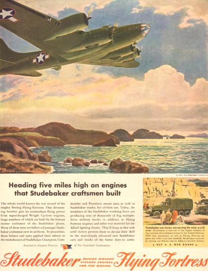 Studebaker Cyclone Flying Fortress 1943 High | Vintage War Propaganda Posters 1891-1970