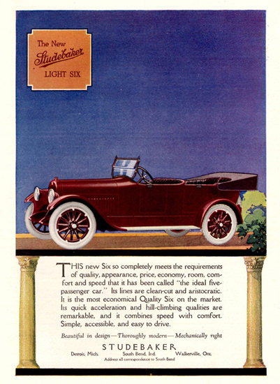 Studebaker Light Six 1918 Detroit | Vintage Cars 1891-1970