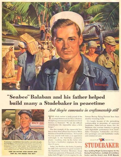 Studebaker Seabee Balaban 1944 | Vintage War Propaganda Posters 1891-1970