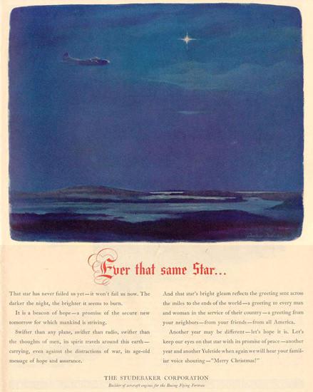 Studebaker The Same Star Merry Christmas 1943 | Vintage Travel Posters 1891-1970