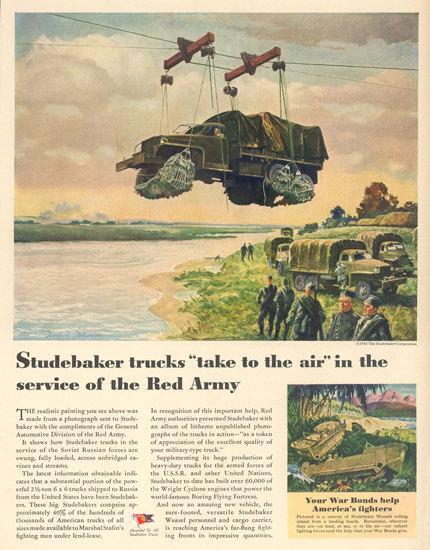 Studebaker Trucks In Service Of Red Army 1945   Vintage War Propaganda Posters 1891-1970