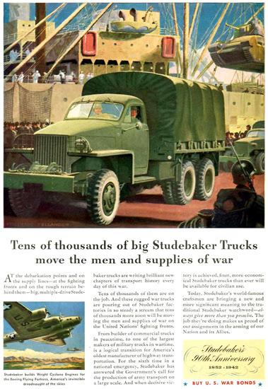 Studebaker Trucks Move Men War Supplies 1942 | Vintage War Propaganda Posters 1891-1970