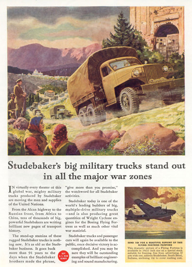 Studebakers Military Trucks In War Zones 1944 | Vintage War Propaganda Posters 1891-1970