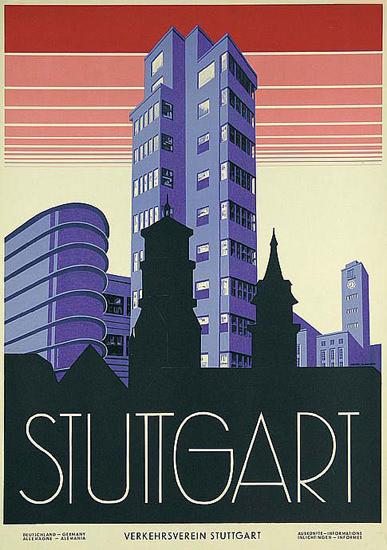 Stuttgart 1930s Fritz Uhlich | Vintage Travel Posters 1891-1970