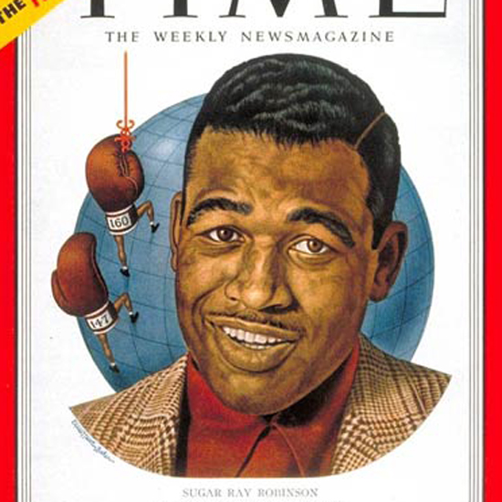 Sugar Ray Robinson Time Magazine 1951-06 by Ernest Hamlin Baker crop | Best of Vintage Cover Art 1900-1970