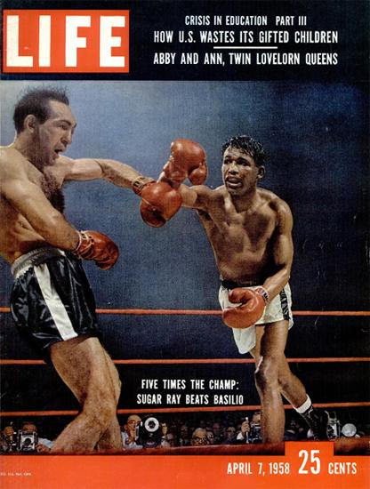 Sugar Ray Robinson v Carmen Basilio 7 Apr 1958 Copyright Life Magazine | Life Magazine Color Photo Covers 1937-1970