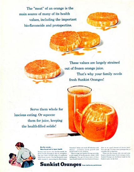 Sunkist Oranges 1957 Be A Good Mother | Vintage Ad and Cover Art 1891-1970