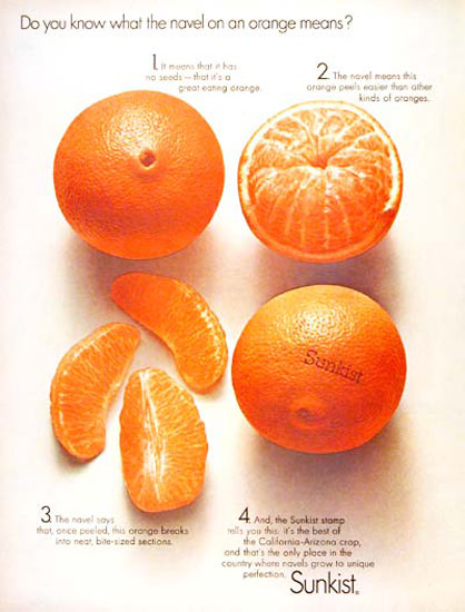 Sunkist Oranges 1966 Navel On An Orange | Vintage Ad and Cover Art 1891-1970