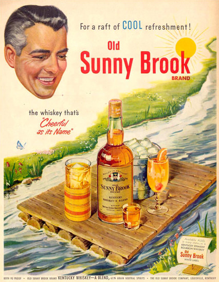 Sunny Brook Brand Whiskey Float 1951 | Vintage Ad and Cover Art 1891-1970