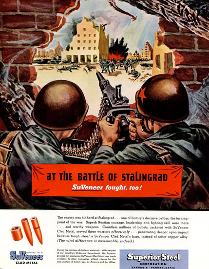 Superior Steel At Battle Of Stalingrad SuVeneer | Vintage War Propaganda Posters 1891-1970