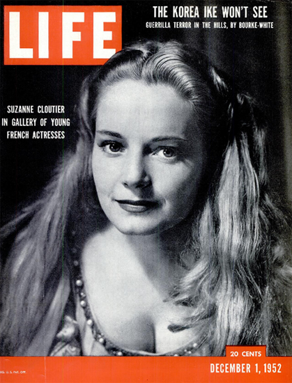 Suzanne Cloutier French Actress 1 Dec 1952 Copyright Life Magazine   Life Magazine BW Photo Covers 1936-1970