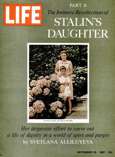 Svetlana Alliluyeva with Son Iosif 22 Sep 1967 Copyright Life Magazine | Life Magazine Color Photo Covers 1937-1970