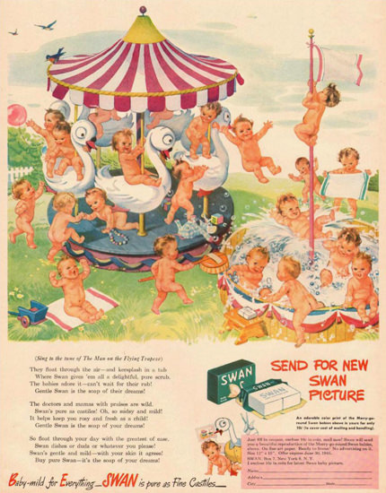 Swan Soap Baby Merry-Go-Round 1945 | Vintage Ad and Cover Art 1891-1970