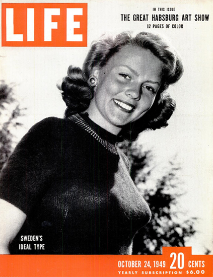 Swedens Ideal Type 24 Oct 1949 Copyright Life Magazine | Life Magazine BW Photo Covers 1936-1970