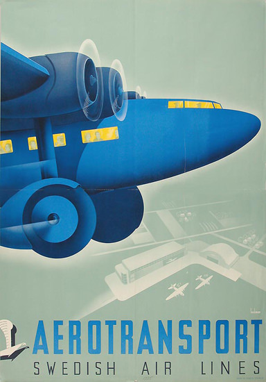 Swedish Air Lines Aerotransport 1930s | Vintage Travel Posters 1891-1970