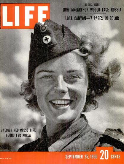 Swedish Red Cross Girl for Korea 25 Sep 1950 Copyright Life Magazine | Life Magazine BW Photo Covers 1936-1970