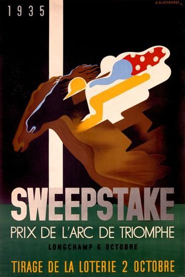 Sweepstake Prix De L Arc De Triomphe 1935   Vintage Ad and Cover Art 1891-1970