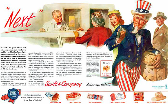 Swift Company Quality Foods Uncle Sam | Vintage Ad and Cover Art 1891-1970