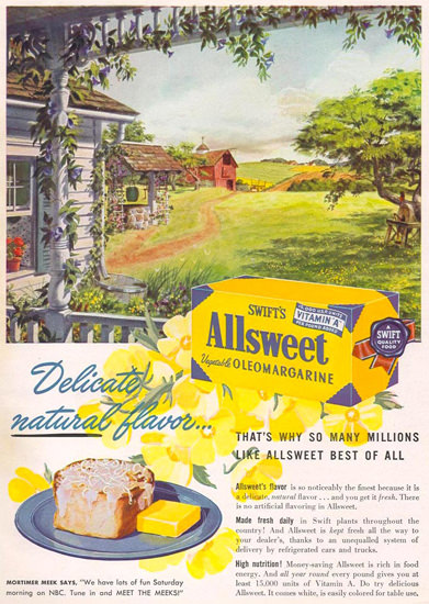 Swifts Allsweet Oleomargarine 1948   Vintage Ad and Cover Art 1891-1970