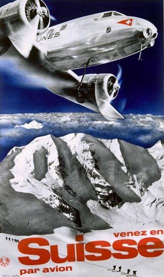 Swiss Airlines Venez En Suisse Par Avion Fly Swiss | Vintage Travel Posters 1891-1970